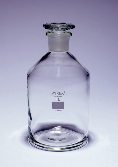 Glass reagent bottle 250ml, narrow neck, with glass stopper