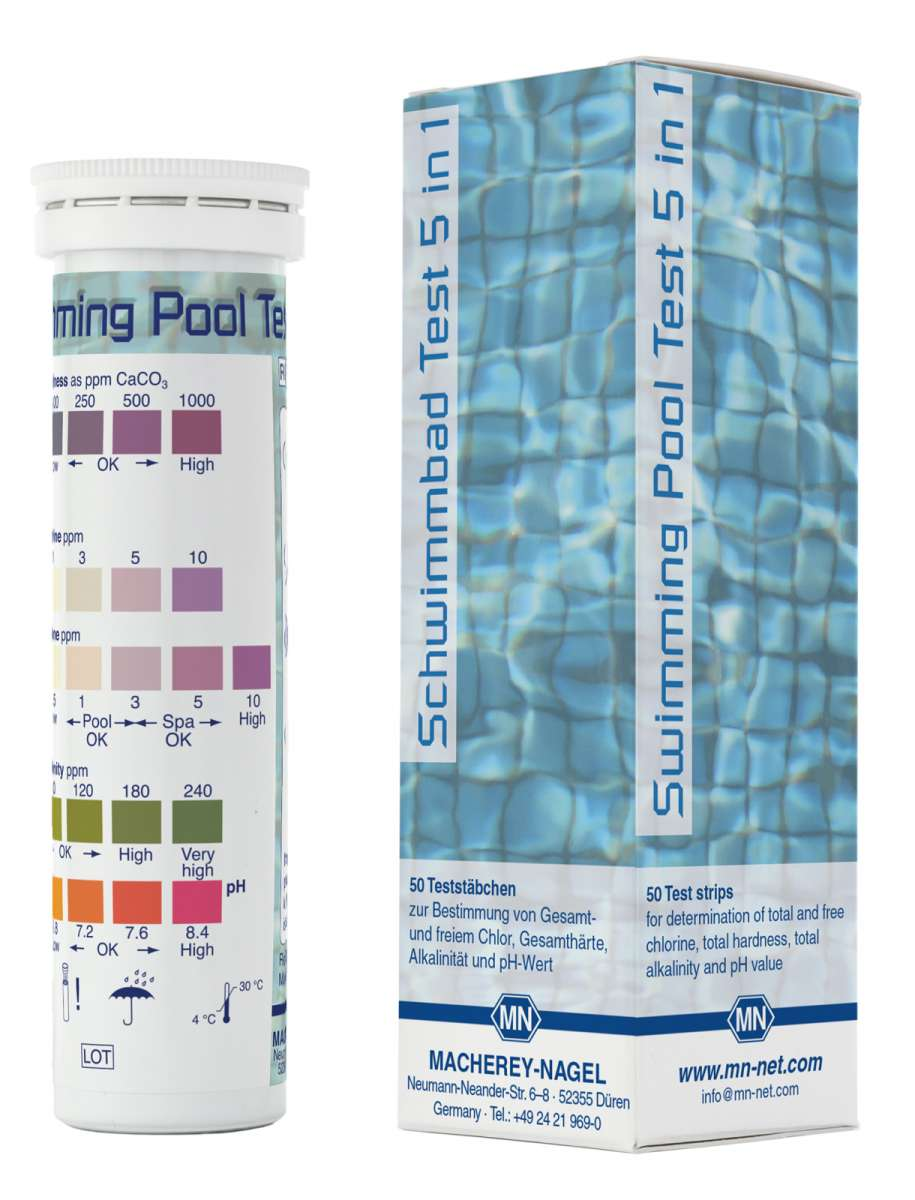Swimming pool test 5 in 1 (Tube of 50 test strips)